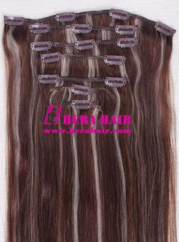 Piano Color Malaysian Virgin Clip In Hair Extensions