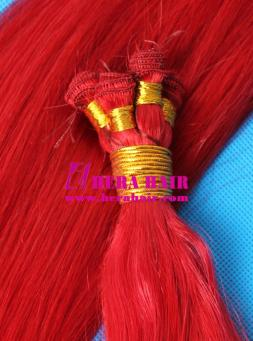 Red Brazilian Virgin Hand Tied Hair Weaves