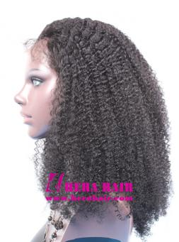 Hera afro kinky curl #1 Black Indian remy hair full lace wigs side picture