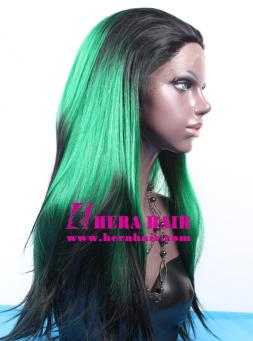 Black Dyed Green Synthetic Lace Front Wigs