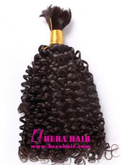 Curly Natural Color Brazilian Virgin Braiding Hair Extensions