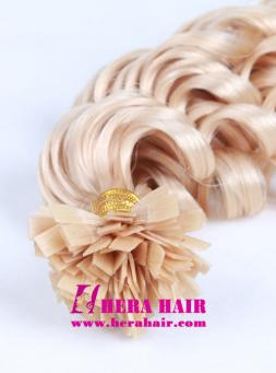 Custom Blonde Color Screw Curl Malaysian Flat Tip Fusion Hair Extensions