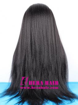 Long Custom Kinky Yaki Black Malaysian Hair Lace Front Wigs Back