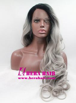 Long Curly Gray Ombre Color Hair Synthetic Lace Front Wigs