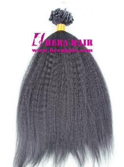 16 Inches Kinky Yaki Black Malaysian Virgin Micro Ring Hair Extensions