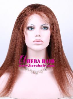 18 inches Kinky Yaki Brown Full Lace Wigs