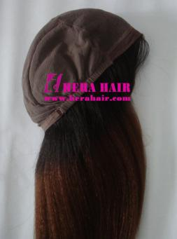 16 inches Kinky Yaki 1B/#3 Ombre Color Glueless Full Lace Wigs