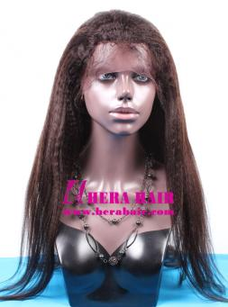 Stock Dark Brown Lace Long Kinky Yaki Indian Full Lace Wigs