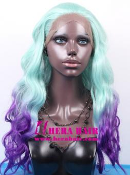 Hera 18 inches wavy ombre blue and purple color synthetic lace front wigs