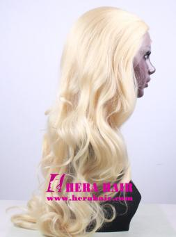 Hera 24 inches wavy #613 blonde synthetic lace front wigs side picture