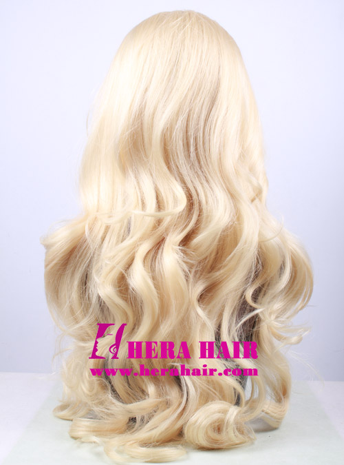 Hera 24 inches wavy #613 blonde synthetic lace front wigs back picture