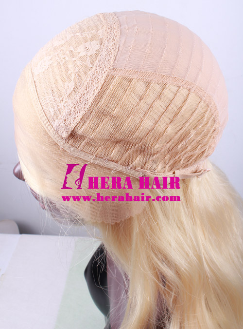 Hera 24 inches wavy #613 blonde synthetic lace front wigs cap design